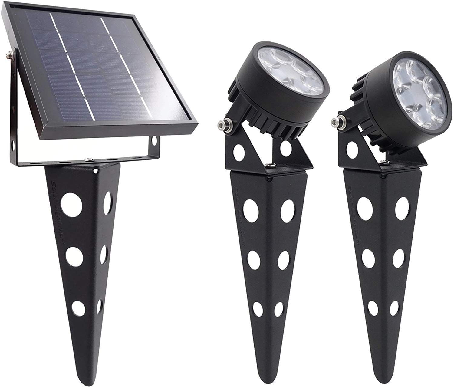 Twin solar-powered LED spotlights come with a separate solar charging panel