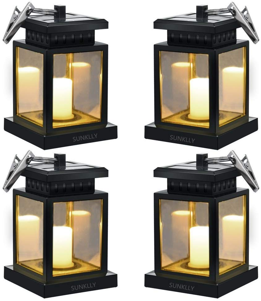 Sunklly waterproof led outdoor candle lights shown as a 4 pack